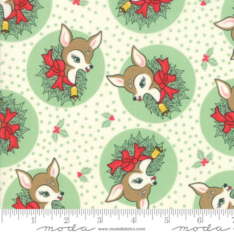 Urban Chiks Deer Christmas Spearmint Novelty Fabric Cotton Quilting