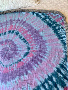 Small Batch Hand Tie Dyed Baby Swaddle Snuggly Blanket