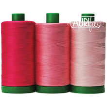Load image into Gallery viewer, aurifil endangered species pink land iguana color builder pink 40 wt 3 spools