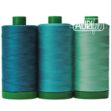 Load image into Gallery viewer, aurifil endangered species blue throated macaw teal color builder thread set 40 wt 3 spools