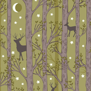 Lewis and Irene nighttime in bluebell woods forest deer leaf green glow in the dark fabric