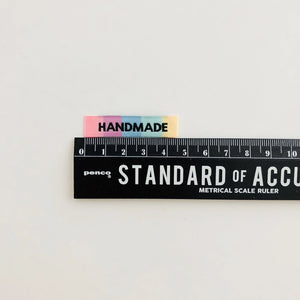 Handmade Rainbow woven labels are 4.5cm long.