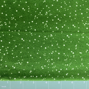 high quality green flannel with white random dots high quality