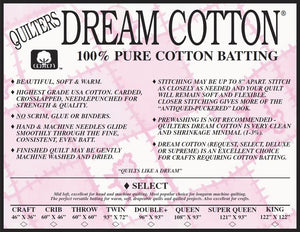 "Natural Cotton Select Batting Queen 108""x93"""