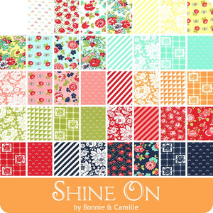 Shine on by Bonnie & Camille Shine On features modern floral prints set to cheerful yellows and pinks, bold oranges and aqua, and deep navy