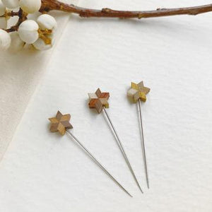 Cohana Wooden Parquet Star Pins Handmade in Japan