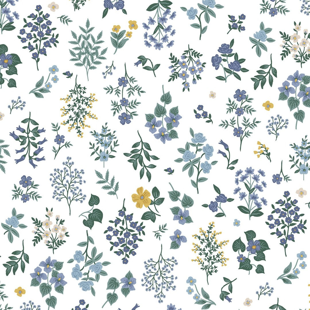 Strawberry fields Rifle paper co small floral in blue green