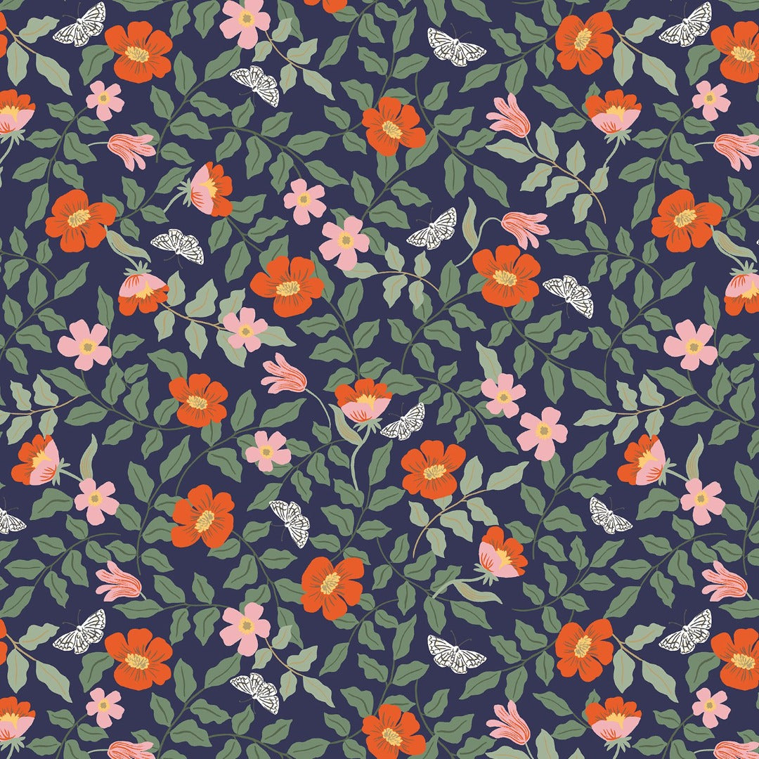 Strawberry fields Rifle paper co small floral on navy great blender