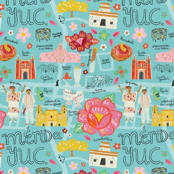Viva mexico city map teal paintbrush studios