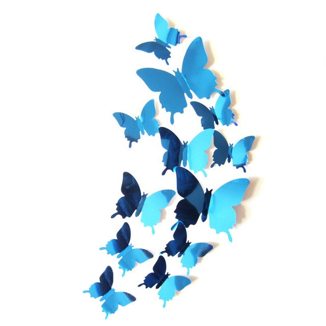 12 Pcs 3D Mirrors Butterfly Wall Stickers