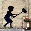 Banksy NYC Child with Hammer: Upper West Side NYC.