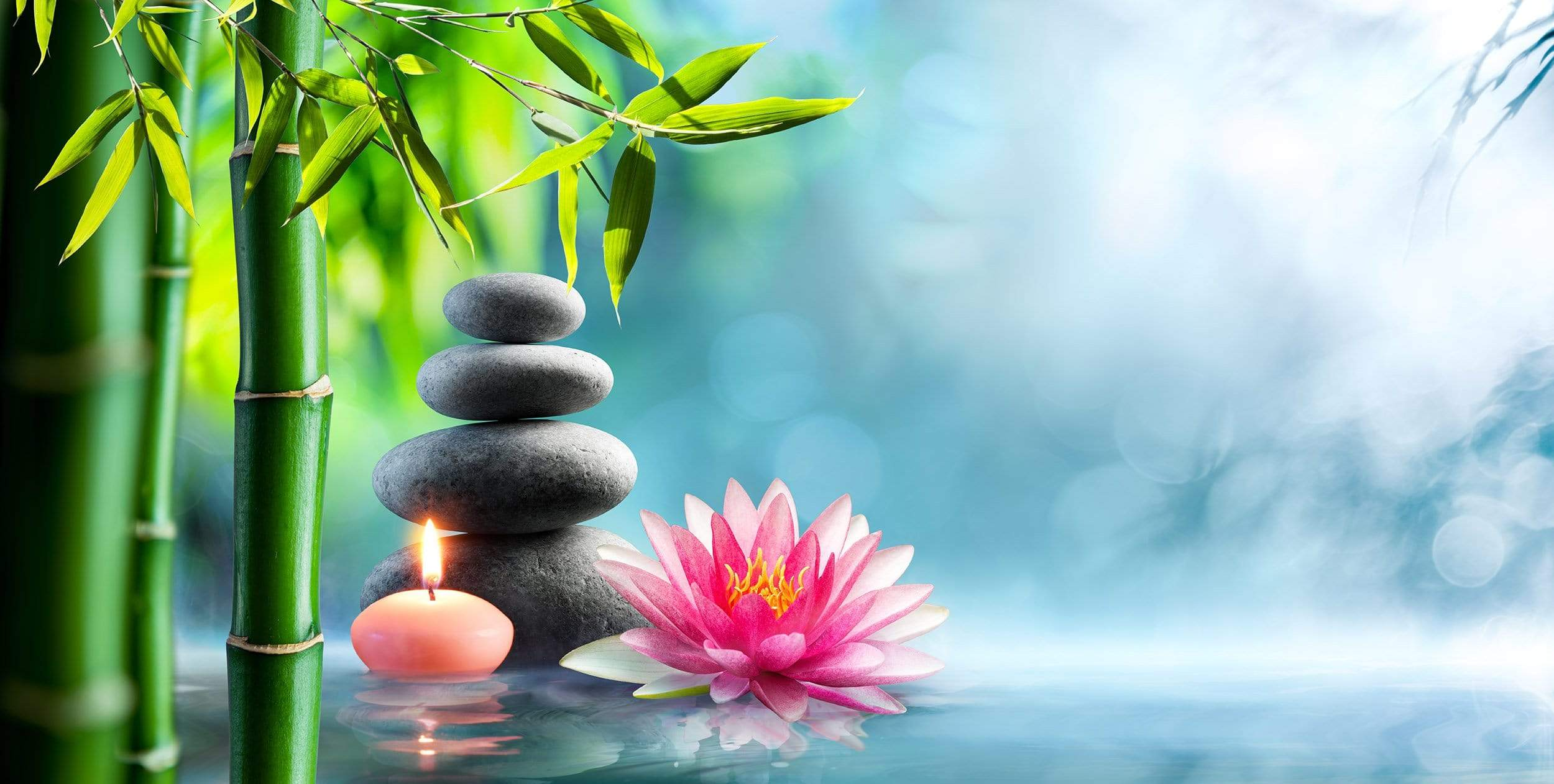 Relaxing Zen Background rocks and candles thumb