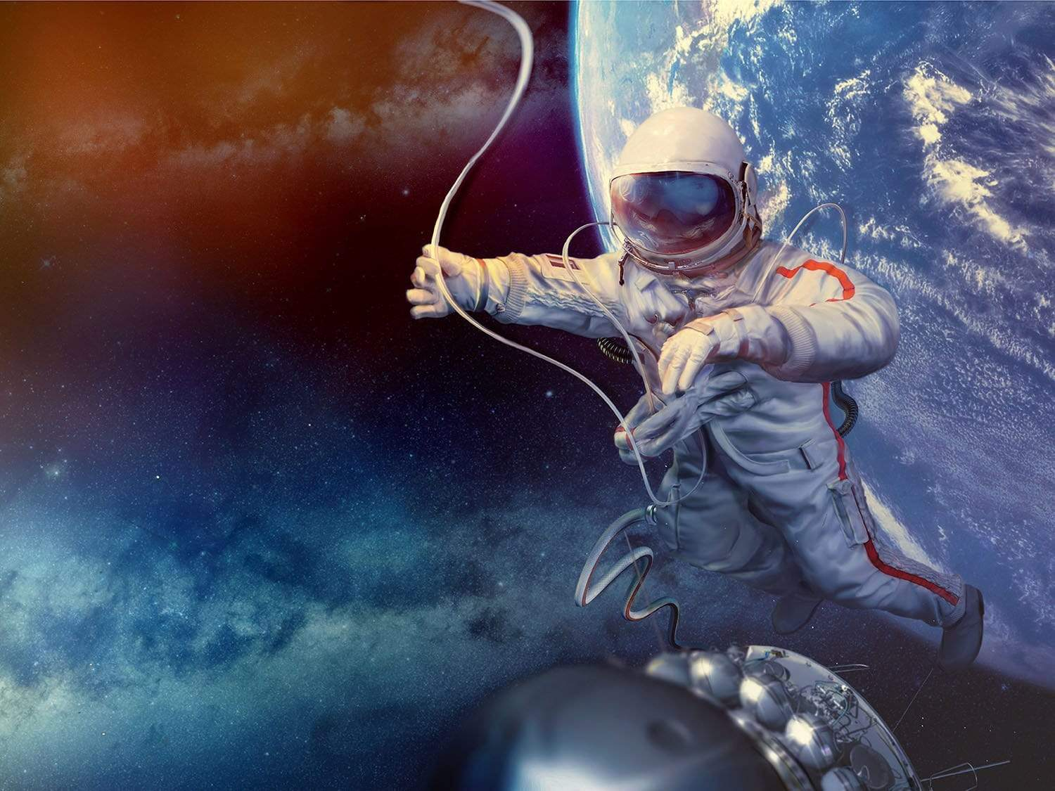 Spaceman outside above Earth
