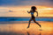 CoolWalls.ca Background Woman running on beach waves and sunset