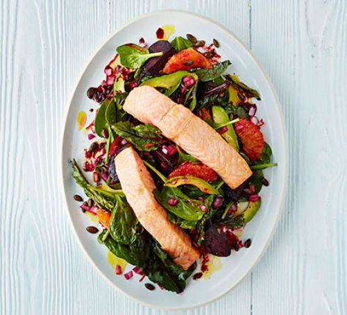 Zesty salmon with roasted beets & spinach