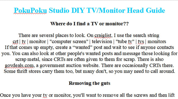 DIY TV/Monitor Head Guide PDF