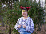 Maroon Red Costume Animal Wolf Fox Cat Ears Headband