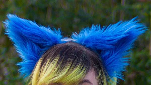 Blue Costume Animal Wolf Fox Cat Ears Headband