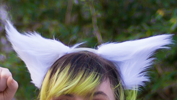 White Costume Animal Wolf Fox Cat Ears Headband