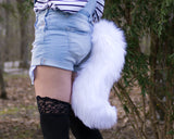 White Furry Animal Costume Wolf Tail