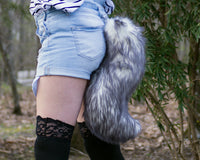 Gray and White Wolf Animal Costume Tail