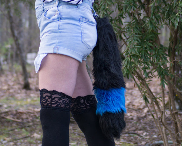 Shiny Umbreon Furry Black Fox Tail With Blue Ring