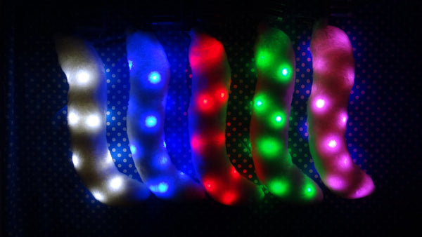 White Costume Animal Cat Tail With White, Blue, Red, Green, or Pink LED Lights