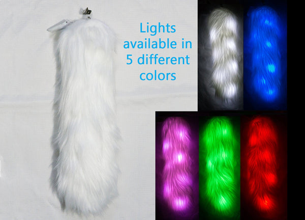 White Light Up Rave Costume Animal Fox Tail With White, Red, Green, Blue, or Pink LED Lights