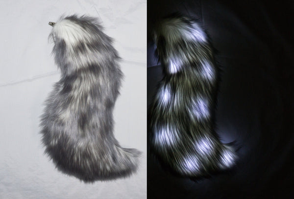 Light Up Gray and White Costume Animal Wolf Tail with LED lights