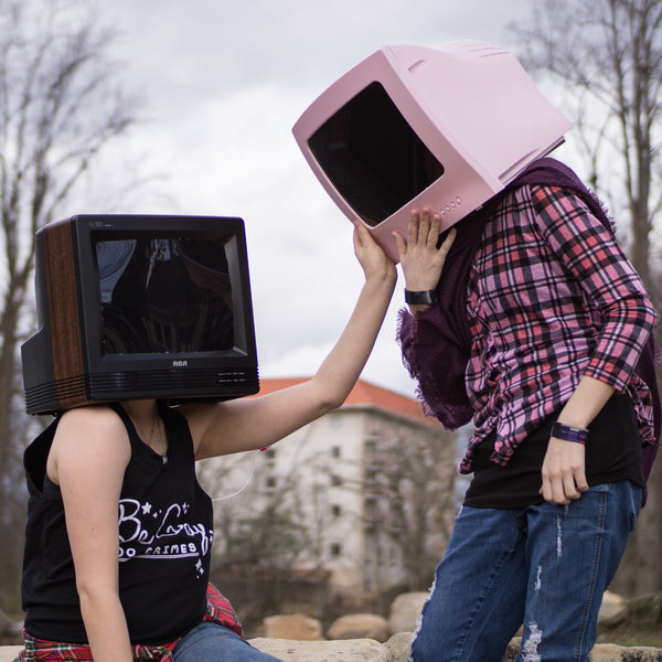TV head cosplay couple photo