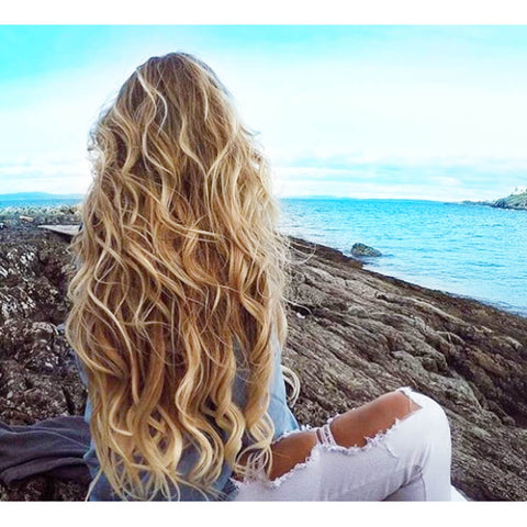 Girl with beach wave hair