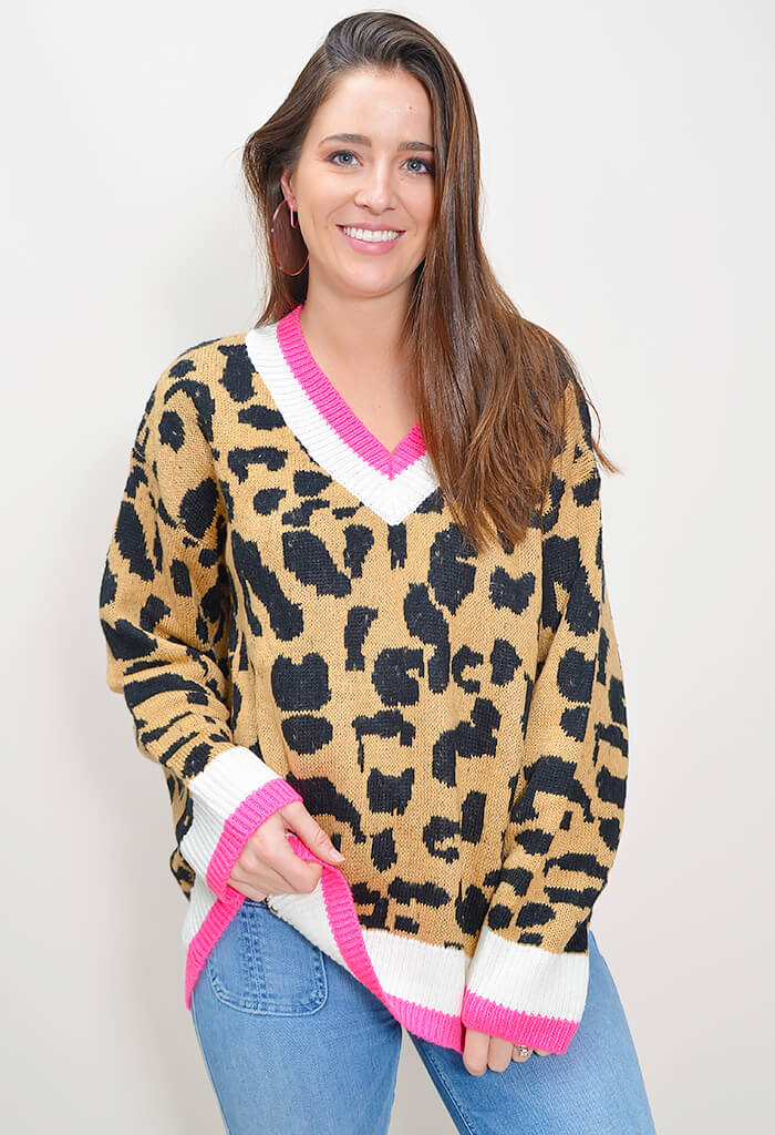 Candy Leopard Sweater - Pink
