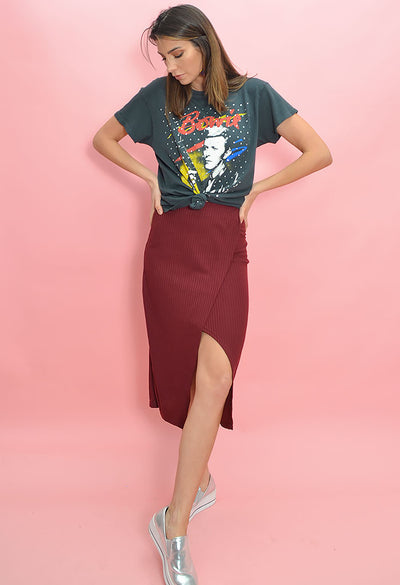 More Wine Midi Skirt