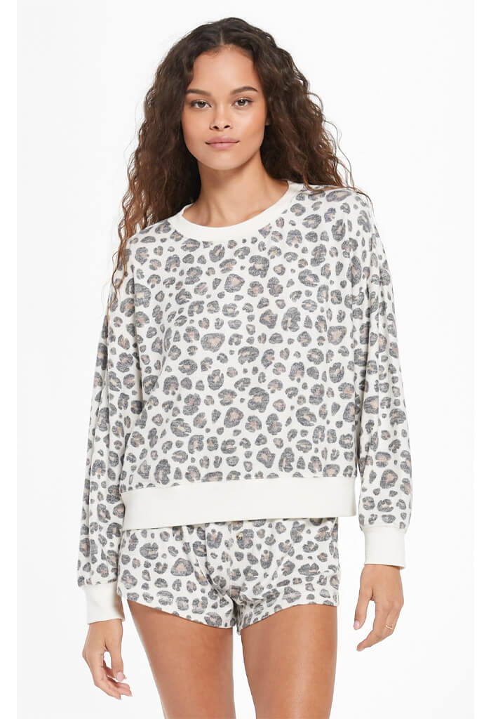 Z Supply Elle Brushed Slub Leopard Pullover