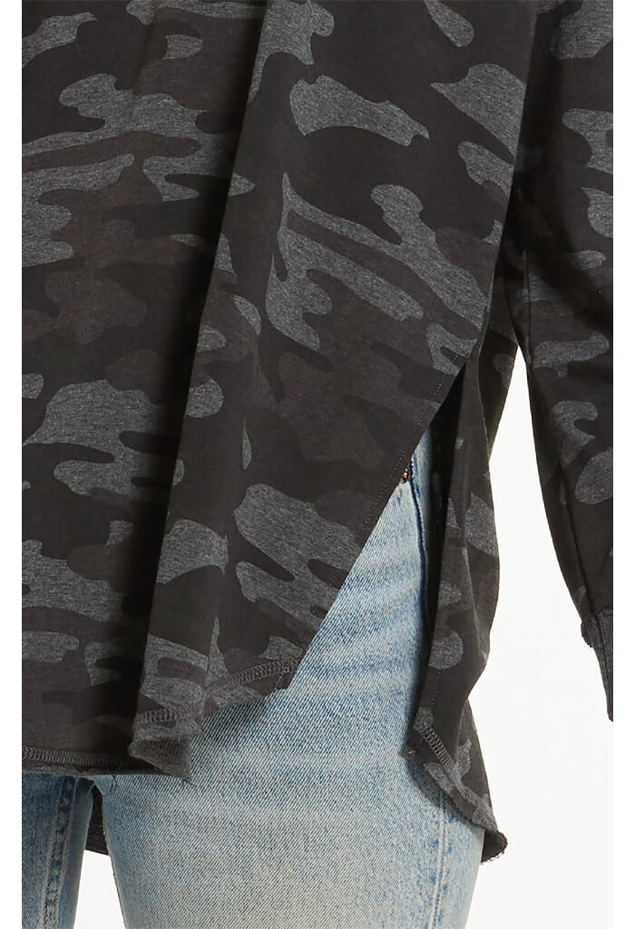 Z Supply Dusty Camo V-Neck Weekender-Dark Charcoal