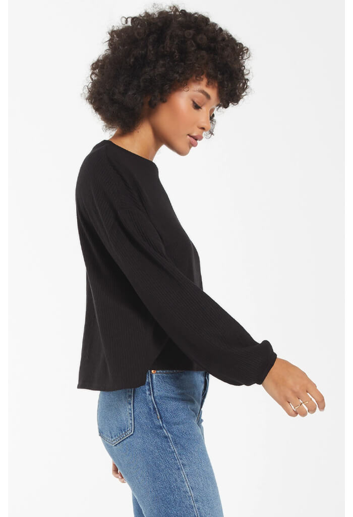 Z Supply Annie Rib Long Sleeve Top-Black