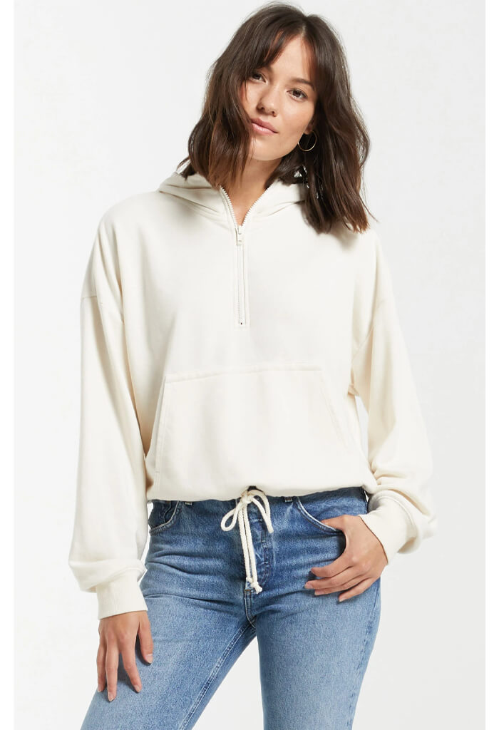 Z Supply Ariel Loop Terry Hoodie-Bone
