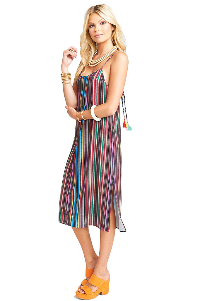 Show Me Your Mumu SHILOH TASSEL SLIP DRESS - SIESTA SIESTA STRIPE CRINKLE