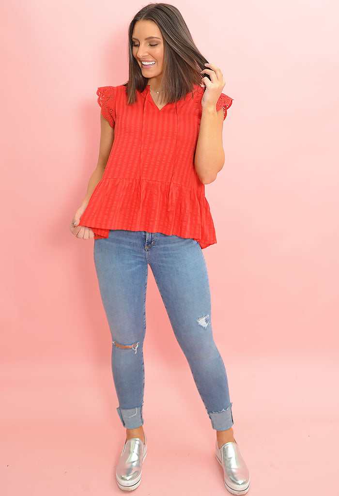 Flutter Blouse-Red