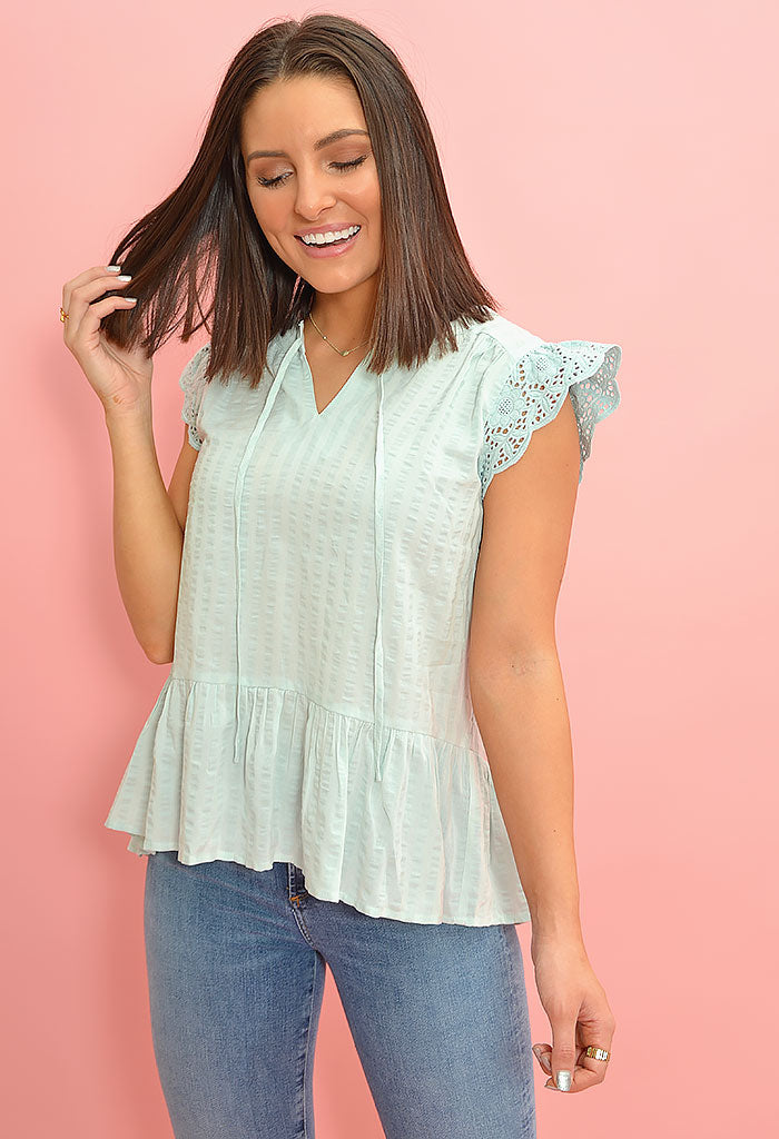 Flutter Blouse-Mint