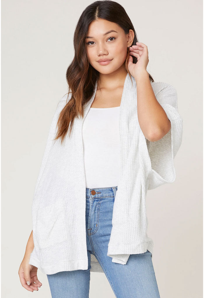 Go Lightly Waffle Knit Cardigan-Heather Grey