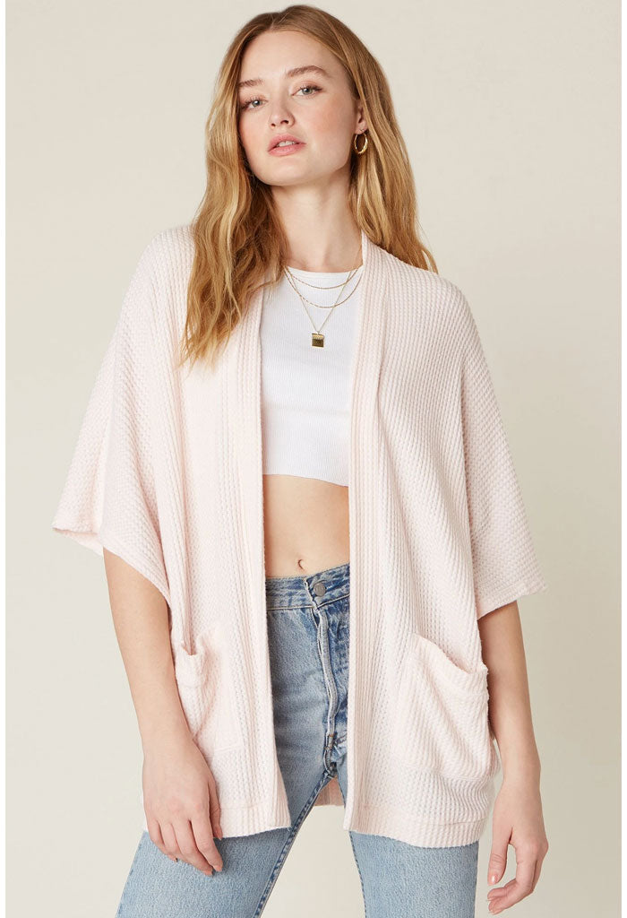 Go Lightly Waffle Knit Cardigan-Rose