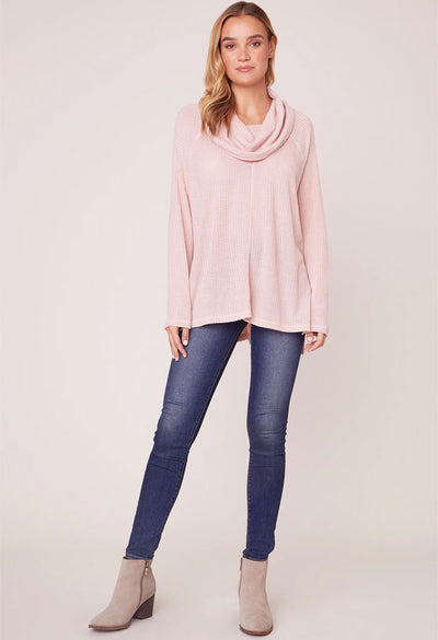 House of Waffles Cowl Neck Top-Pink