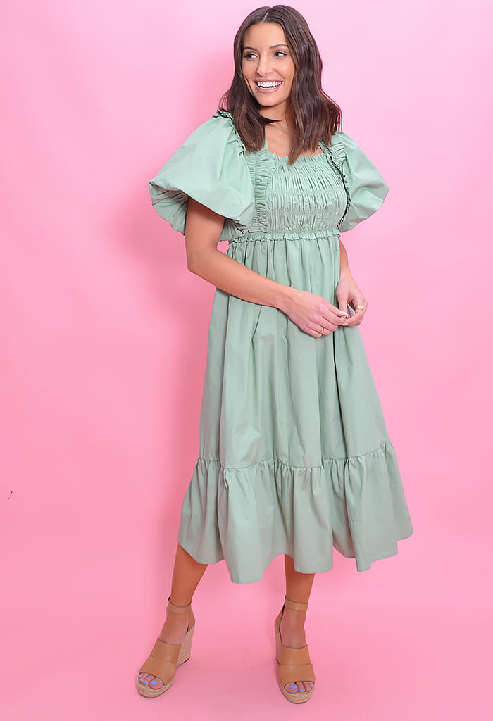 KK Bloom Sweet Mint Midi Dress