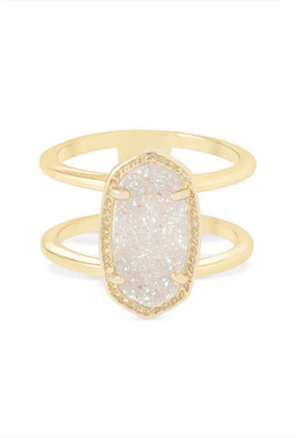 Elyse Gold Ring in Iridescent Drusy