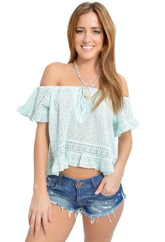 Sweet Mint Eyelet Top