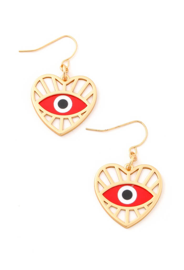 KK Bloom Santorini Heart Earrings-Red