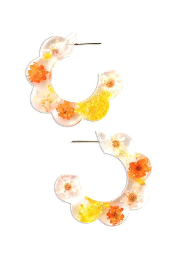 KK Bloom Jessica Hoops-Pink Orange