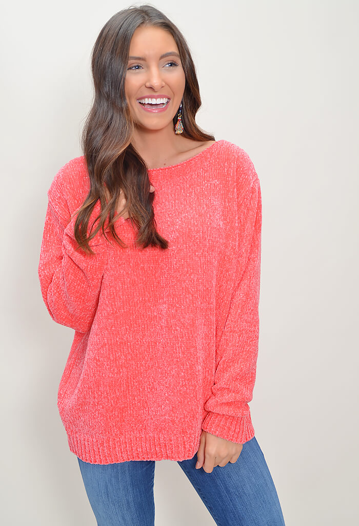 Chenille Sweater - Coral