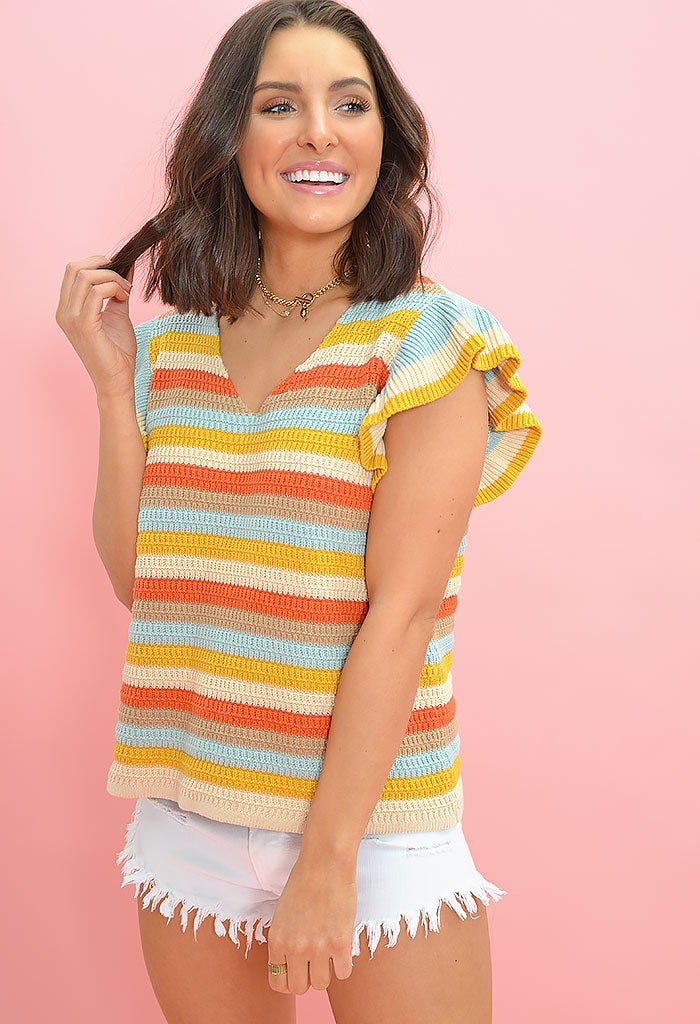 Summer sunrise knit top